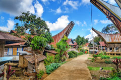 Lempo village in Tana Toraja. On the road in Tongkonan traditional Lempo village. Tana Toraja, Sulawesi. Indonesia Royalty Free Stock Images