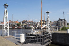 Lemster lock in the port of Lemmer in Friesland. Stock Photography