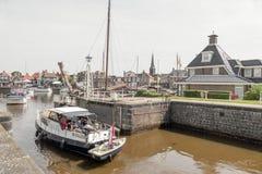 Lemster lock in the port of Lemmer in Friesland. Stock Photos