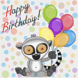 Lemur with balloons Royalty Free Stock Image