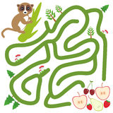 Lemur on the branch and the apple pear strawberry cherry on white background  labyrinth game for Preschool Children. Vector Royalty Free Stock Image
