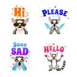 .Lemur Emotions Polygonal Icons Set. Lemur character emotions 4 funny polygonal icons set with sad please and hi colorful letters isolated vector illustration Stock Photography