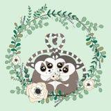 2018 02 23_lemur_eucalyptus ilustracja wektor