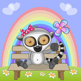 Lemur with flower Stock Images