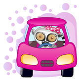 Lemur girl in a car Royalty Free Stock Photography