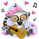 Lemur with guitar Stock Images