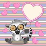 Lemur with heart frame Stock Photo