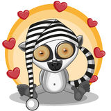 Lemur with hearts Stock Images