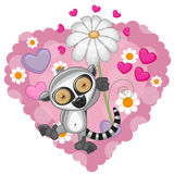 Lemur with hearts and flower Royalty Free Stock Photography