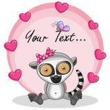 Lemur with hearts stock illustration