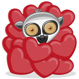 Lemur in hearts Royalty Free Stock Images