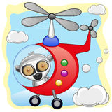 Lemur in helicopter. Lemur is flying in a helicopter stock illustration