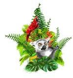 Lemur i czerwieni papuga na tle tropikalne rośliny ilustracja wektor