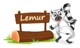Lemur i imię talerz royalty ilustracja