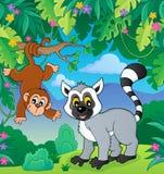 Lemur and monkey in jungle image 1. Eps10 vector illustration royalty free illustration