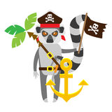 Lemur pirate with anchor Stock Photos