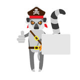 Lemur pirate with banner card Stock Image