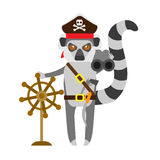 Lemur pirate with binokol and wheel Stock Photography