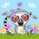 Lemur z kwiatami ilustracji