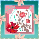 Lenço de seda com composição floral quadro ilustração royalty free