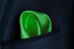 Lenço verde no revestimento um bolso Imagem de Stock Royalty Free