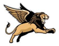León con alas que vuela Fotografía de archivo
