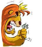 León de la historieta que sostiene un ratón que lo asusta Imagen de archivo
