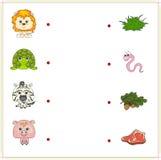 León, tortuga, cebra y cerdo con su comida (hierba, gusano, bellota Fotos de archivo libres de regalías