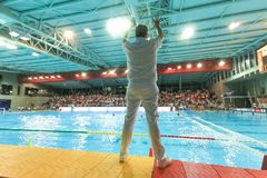 LEN Water Polo Europa Cup, Men`s SUPER FINAL 2018, RIJEKA CRO. RIJEKA, CROATIA April 7: LEN Water Polo Europa Cup, Men`s SUPER FINAL, RIJEKA CRO. Croatia wins Royalty Free Stock Photography