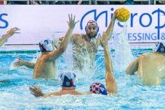 LEN Water Polo Europa Cup, Men`s SUPER FINAL, RIJEKA CRO. RIJEKA, CROATIA April 7: LEN Water Polo Europa Cup, Men`s SUPER FINAL, RIJEKA CRO. Croatia wins epic Stock Photos