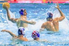 LEN Water Polo Europa Cup, Men`s SUPER FINAL, RIJEKA CRO. RIJEKA, CROATIA April 7: LEN Water Polo Europa Cup, Men`s SUPER FINAL, RIJEKA CRO. Croatia wins epic Royalty Free Stock Photos