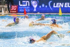 LEN Water Polo Europa Cup, Men`s SUPER FINAL 2018, RIJEKA CRO. RIJEKA, CROATIA April 7: LEN Water Polo Europa Cup, Men`s SUPER FINAL, RIJEKA CRO. Croatia wins stock images
