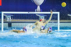 LEN Water Polo Europa Cup, Men`s SUPER FINAL 2018, RIJEKA CRO. RIJEKA, CROATIA April 7: LEN Water Polo Europa Cup, Men`s SUPER FINAL, RIJEKA CRO. Croatia wins royalty free stock image
