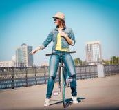 Lena_Misha-Dasha Rowerowy miasto, Lena! Obrazy Royalty Free