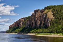 Lena Pillars, banca del fiume Lena, Yakutia Fotografia Stock Libera da Diritti