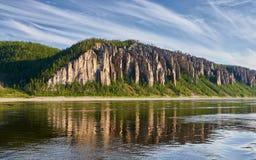 Lena Pillars, bank van de rivier van Lena, Yakutia Royalty-vrije Stock Fotografie
