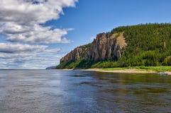 Lena Pillars, banque du fleuve Lena, Yakutia Images stock