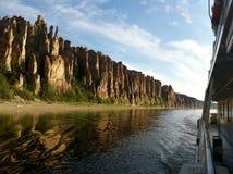 Lena Pillars, mening van boot tijdens excursie Royalty-vrije Stock Foto's