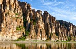 Lena Pillars, nationaal park in Yakutia Royalty-vrije Stock Afbeeldingen