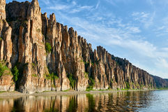 Lena Pillars, nationaal park in Yakutia stock foto's