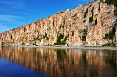 Lena Pillars National Park a tempo di tramonto Immagini Stock Libere da Diritti