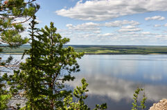Lena Pillars National Park, vista da di sopra Fotografie Stock Libere da Diritti