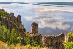 Lena Pillars National Park, vista de em cima Fotografia de Stock