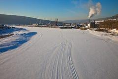 Lena River på Ust-Kut i vintern Fotografering för Bildbyråer