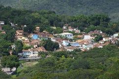 Lencois Bahia Brazil Hillside Village. Hillside village of Lencois spread across green mountains in Bahia Brazil royalty free stock images