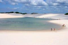 Lencois Maranhenses, Maranhao, Brazil. Salt lake and sand dunes landscape at the Lencois Maranhenses Natural Park, Brazil Stock Photos