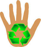 Lend a hand - Recycle. Hand with recycle symbol on palm Stock Image