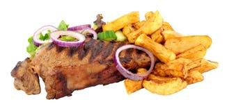Lendensteak und Chips Meal Stockbilder