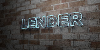 LENDER - Glowing Neon Sign on stonework wall - 3D rendered royalty free stock illustration Stock Photos