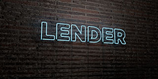 LENDER -Realistic Neon Sign on Brick Wall background - 3D rendered royalty free stock image Royalty Free Stock Photos